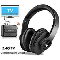 Wireless TV Headphones - Pohopa W239 2.4GHz Over Ear Stereo Headphone for TV Watching with Transmitter(Digital Optical, 3.5mm AUX, RCA), Plug & Play, No Delay, 100ft Long Range, Black