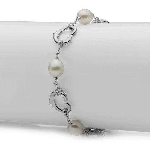 La Regis Jewelry Heart Shape Sterling Silver 7.5-8mm White Freshwater Cultured Pearl Bracelet