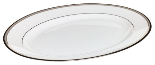 """Lenox 6230163 Murray Hill 13"""" Oval Serving Platter, 2.55 LB, Ivory and platinum"""