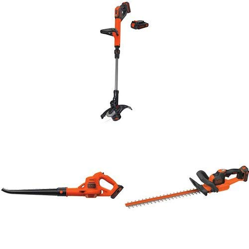 BLACK+DECKER LSTE525 20V MAX Lithium Easy Feed String Trimmer/Edger with 2 batteries and sweeper + hedge trimmer