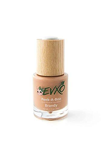 EVXO Organic Liquid Mineral Foundation - Vegan, All Natural, Gluten Free, Aloe Based, Buildable Coverage, Cruelty Free Foundation Makeup - 1 Fl Oz (Brandy/Tan-Medium with Warm Undertones)