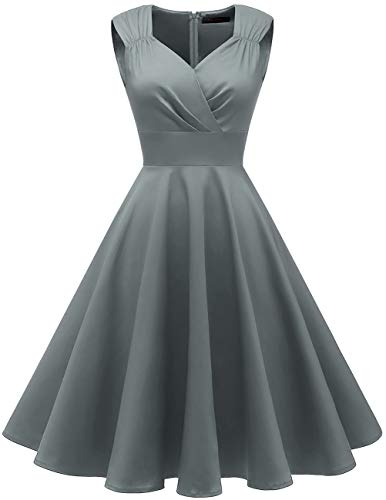 Meetjen Vintage 1950s Cocktail Party Swing Dresses Retro Rockabilly Prom Dresses Grey 2XL