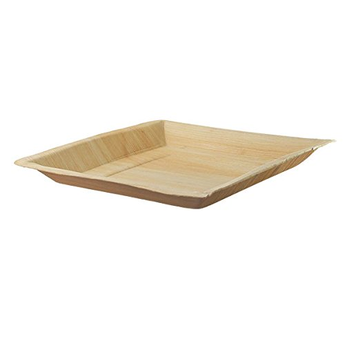 """Palm Leaf Square Plate (Case of 25), PacknWood - Eco Friendly Compostable Wooden Disposable Plates (9.4"""" x 9.4"""") PK210BBA2424"""