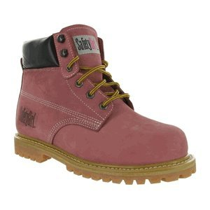 """SafetyGirl GS002 Nubuck Leather Steel Toe Water resistant Womens Work Boot, 6"""" Height, 5.5M, Light Pink"""