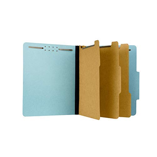 "The File King - Pressboard Classification Partition File Folder - Letter Size - Top Tab with Dividers and Fasteners for Filing Cabinets and Drawers - Box of 10-3 Dividers, 3"" Expansion"