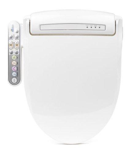 BioBidet Prestige BB-800 Round White Bidet Toilet Seat, Adjustable Warm Water, Self Cleaning, Side Panel, Posterior Feminine and Vortex Wash, Electric Bidet, Easy DIY Installation, 3 in 1 Nozzle, Power Save Mode is Eco Friendly