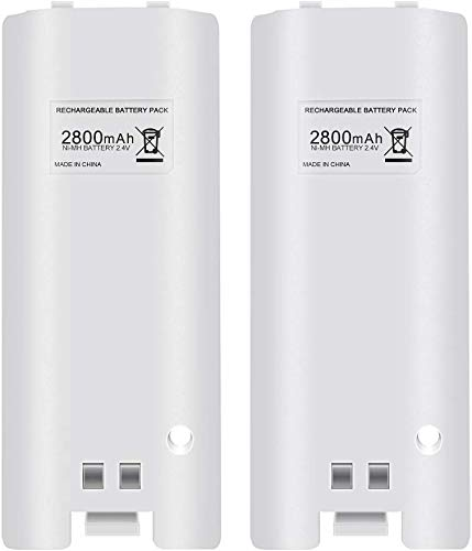 Hokyzam FM24-1 Rechargeable Battery Pack for Wii, 2pcs 2800mAh High Capacity Rechargeable Batteries Pack for Nintendo Wii Remote Controller - White