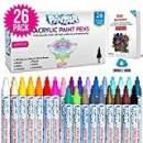 PINTAR Premium Acrylic Paint Pens - (26 Colors) Medium Tip Pens For Rock Painting, Ceramic Glass, Wood, Paper, Fabric & Porcelain, Water Resistant Paint Set, Surface Pen, Craft Supplies, DIY Project