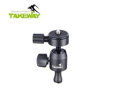 TAKEWAY T-B02 Ball Head Load Capacity 3kg, Aerospace-Grade Aluminum, Suitable for Action cam, can be Used for The Most Digital Camera, DSLRs & 3C Products, Mini Tripod.