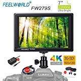 "FEELWORLD FW279S 7"" 2200nit Ultra Bright Daylight Viewable SDI Field Monitor IPS Support 4K HDMI and SDI in and Loop-Out Full HD 1920x1200 On-Camera Monitor with DC Out Power for DSLR"