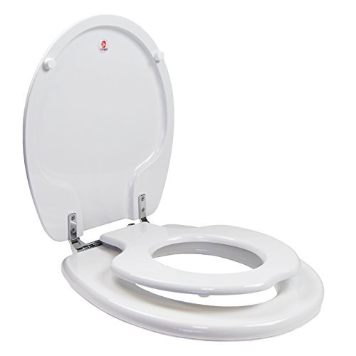 TOPSEAT TinyHiney Potty Round Toilet Seat, Adult/Child, w/Chromed Metal Hinges (White)