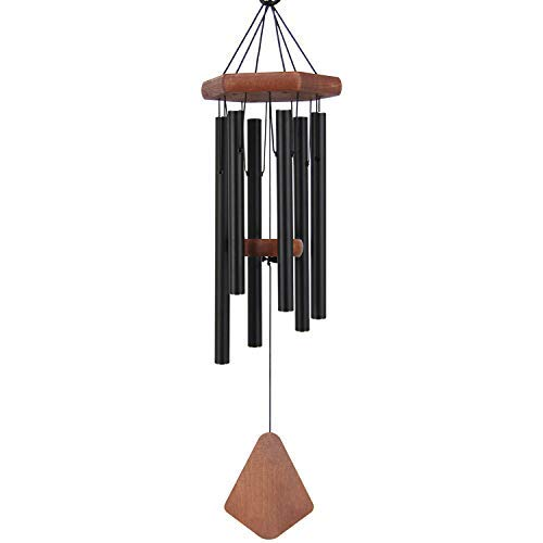ASTARIN Medium Wind Chime Outdoor, 28 Inches Sympathy Wind Chime with 6 Black-Colored Aluminum Hollow Tubes Tuned Soothing Musical Bell Sounds, Metal Wind Chimes for Home, Party, Garden Décor