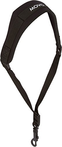 Movo MS-20R Music Instrument Neck Strap for Saxophones, Horns, Bass Clarinets, Bassoons, Oboes and More (Black - Short Length)