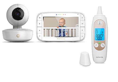 """[Exclusive] Motorola Baby Bundle - MBP36XL Video Baby Monitor with 5"""" LCD Display Pan/Tilt/Zoom, Rechargeable Camera and MBP69SN Smart Ear Thermometer"""