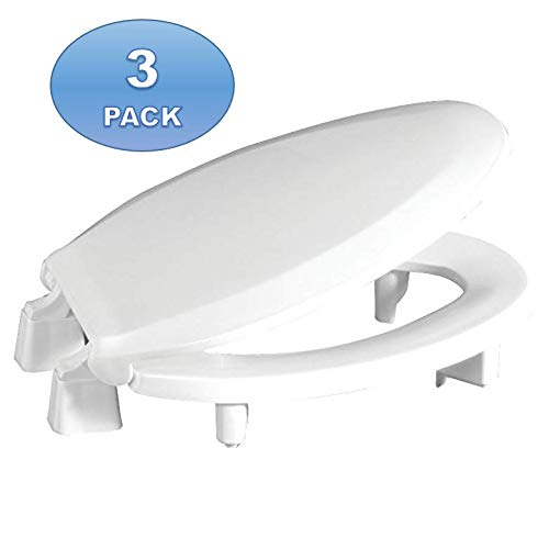 """3 Pack - Centoco 3L800STS-001 Elongated 3"""" Lift, Raised Plastic Toilet Seat, Closed Front with Cover, ADA Compliant Handicap Medical Assistance Seat, White"""