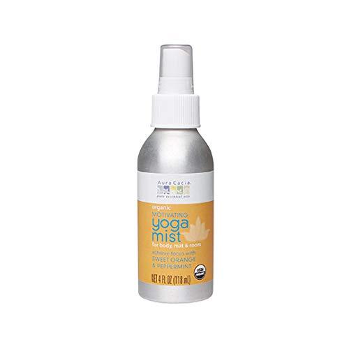 Aura Cacia Organic Body, Mat and Room Yoga Mist, Motivating Sweet Orange and Peppermint, 4 Fluid Ounce