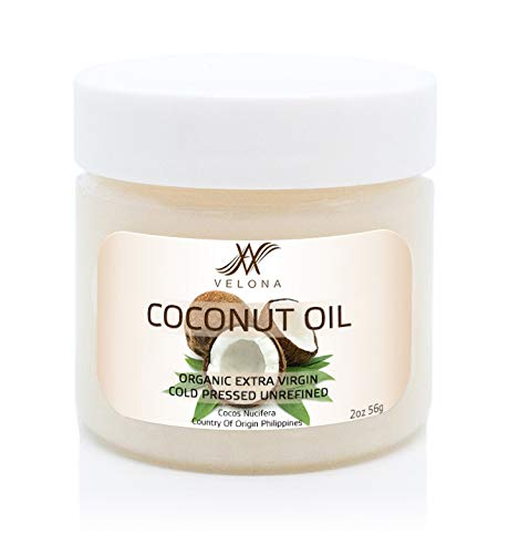 100% Natural Coconut Oil by Velona | All Natural Clear Carrier Oil for Face, Hair, Body and Skin Care | Extra Virgin, Expeller Pressed | in jar | Size: 2 oz