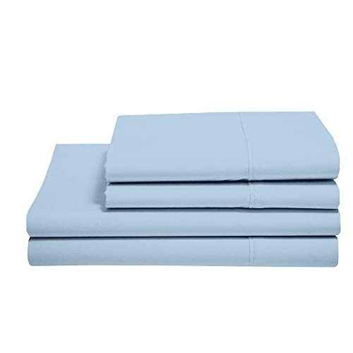 100% Cotton Sheets - Real 800 Thread Count 4 Piece Bed Sheet Set - Soft & Smooth Hotel Luxury 4pc Sheet Set Solid 15 inches Deep Pocket (Twin, Light Blue Solid)