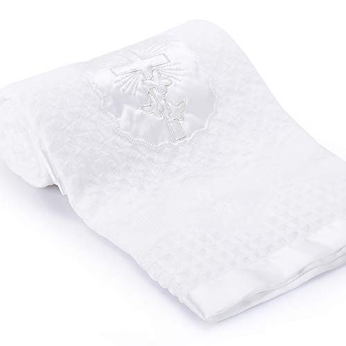 Booulfi Baby Christening Blanket Newborn Unisex Baptism White Baby Blanket Shawl Knitted Baby Summer Autumn Winter Blanket with Embroidered Cross