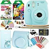 Fujifilm Instax Mini 9 Instant Camera (Ice Blue), 1 Rainbow Film Pack 10 Prints, 1 Twin Film Pack 20 Prints, (White) Instant Film, case, 4 AA Rechargeable Battery's with Charger, Accessory Bundle