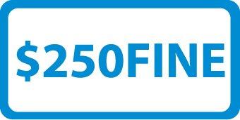 "NMC TMA9H Handicap Parking Sign, Legend ""$250 FINE"", 6"" Length x 12"" Height, Aluminum 0.063 , Blue on White"