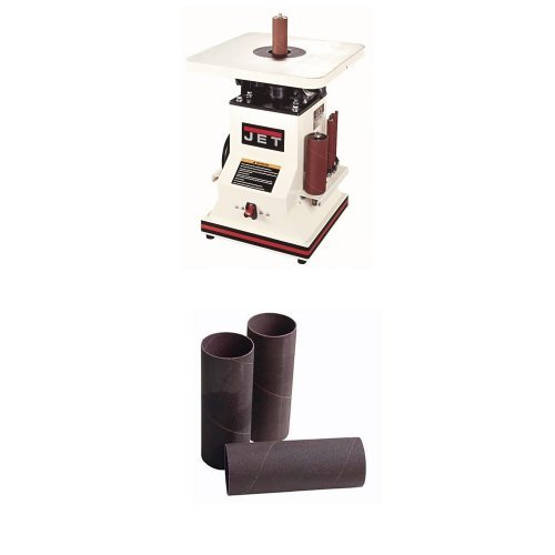 """JET 708404 JBOS-5 5-1/2 Inch 1/2 Horsepower Benchtop Oscillating Spindle Sander with Spindle Assortment, 110-Volt 1 Phase with Sanding Sleeves, 1-1/2x5-1/2"""",100 Grit (4 pack)"""