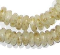 African Disk Recycled Glass Beads - Full Strand of Eco-Friendly Ghanaian Rondelle Beads - The Bead Chest (Beeswax)