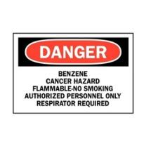 """Brady 25777 Plastic, 10"""" X 14"""" Danger Sign Legend, """"Benzene Cancer Hazard Flammable-No Smoking Authorized Personnel Only Respirator Required"""""""