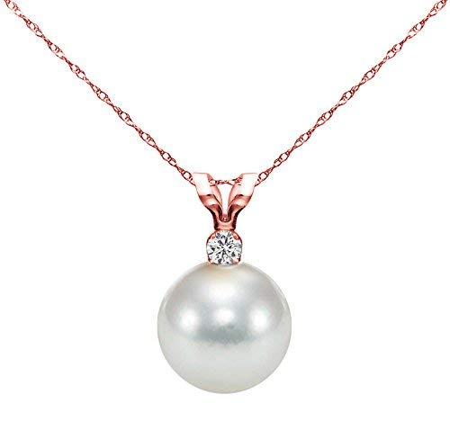 14k Gold Single 7-7.5mm White Cultured Freshwater Pearl and Diamond Pendant Necklace (G-H, SI1-SI2) - Choice of Gold Color and Diamond Size Valentines Gifts