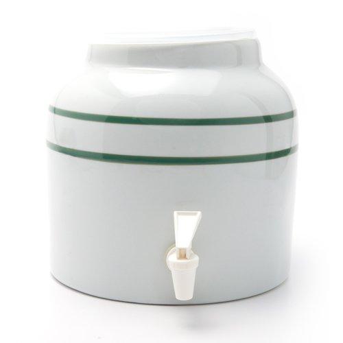 Bluewave Stripe Design Water Dispenser Crock, Green