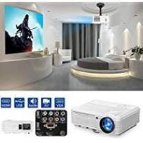 """CAIWEI Home Cinema 4600 Lumen HD Video Projector HDMI USB Multimedia LCD Projectors for Gaming Support 1080P 200"""" Screen Zoom Keystone, Built-in Speaker for Basement Movie Artwork DVD Player"""