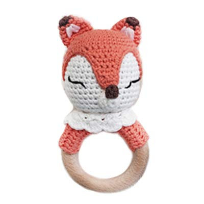 Natural Crochet Teether Toy Rattle for Baby Forest Friends Amigurumi Crochet Bunny Deer Fox on Natural Wooden Teething Ring Rattle and Beaded Pacifier Clip (Foxy)