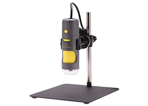 Aven 26700-205 Digital Handheld Microscope, 10x-200x Magnification, Upper UV LED Illumination, With Stand, Includes 1.3MP Camera