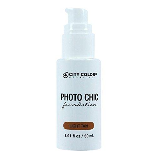 CITY COLOR COSMETICS Photo Chic Liquid Foundation | Oil Free Medium To Full Coverage, Combination Oily Skin (Light Tan)