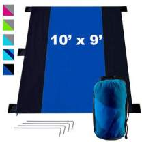 KOR Outdoors Sandfree Beach Blanket - Oversized 9x10 Foot - Fits 7 Adults - Travel, Picnic, Park, Sports, Music, Camping Tarp, Sandproof - Portable Sheet with Compression Carry Bag - Ripstop Nylon Mat