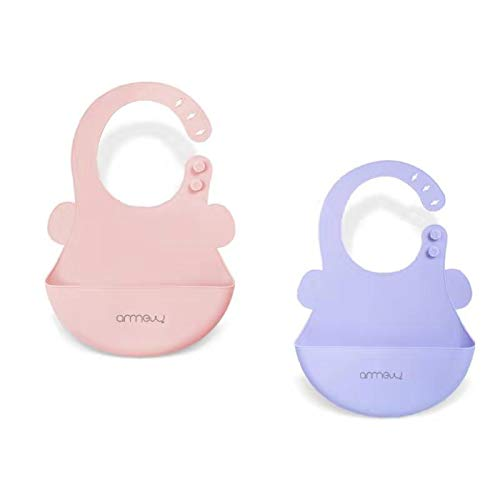 ARRNEW Super Light Silicone Baby Bibs | Unisex Waterproof | BPA Free Bib for Baby Girl and Baby Boy | Great Baby Gifts (Pink/Purple)
