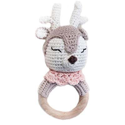 Natural Crochet Teether Toy Rattle for Baby Forest Friends Amigurumi Crochet Bunny Deer Fox on Natural Wooden Teething Ring Rattle and Beaded Pacifier Clip (Honey Deer)