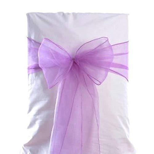mds Pack of 100 Organza Chair Sashes Bow Sash for Wedding and Events Supplies Party Decoration Chair Cover sash -Light Purple