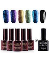 Perfect Summer Nail Gel Polish Chameleon Colors UV LED Soak Off Nail Lacquers, 5PCS Chameloen Colors + 1PCS Black Color Nail Starter Kit, 10ml Each (Set #03)