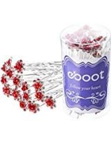 eBoot 40 Pack Crystal Hair Pins Rose Flower Rhinestone Hair Clips for Bridal Wedding Women Hair Jewelry Accessories, with Storage Bag (Red)