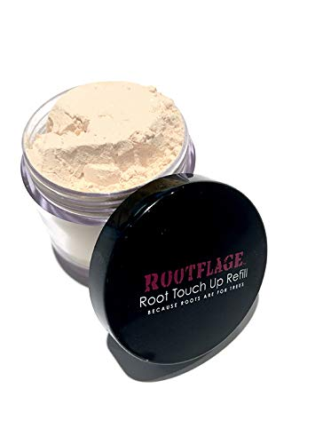 Rootflage Instant Blonde Root Touch Up Hair Powder - Temporary Hair Color, Root Concealer, Thinning Hair Powder and Concealer Refill Jar with Detail Brush Included (02 Cool Blonde)