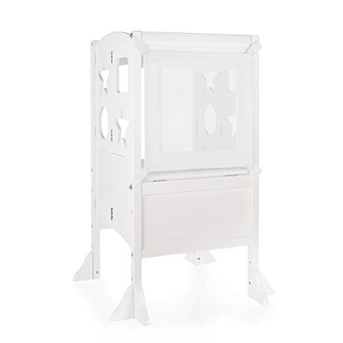Guidecraft Classic Kitchen Helper Stool - Ivory W/Keeper and Non-Slip Mat: Adjustable Height Counter, Folding Step Stool for Safe Cooking with Toddlers, Chalkboard & Whiteboard