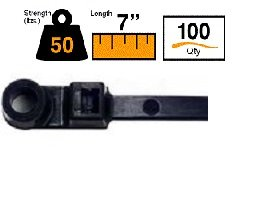 """BuyCableTies 7"""" Mount Head Option Indoor/Outdoor Cable Ties - 50 lb Rated - Made in USA - Black - UV Resistant - 100 per bag"""