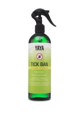TICK BAN Yaya Organics All Natural Extra Strength Tick Repellent DEET Free - 16 Ounce Spray Bottle