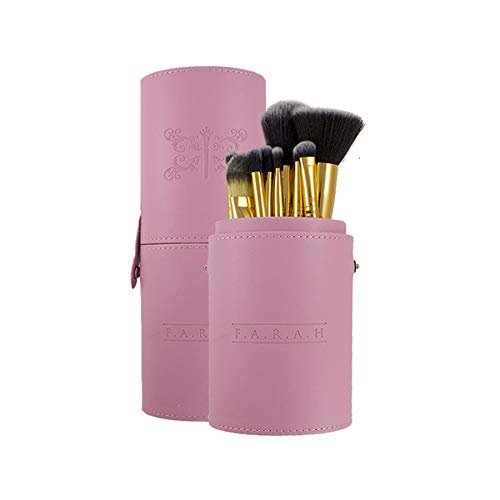 Premium Makeup Brushes Foundation Face Eyeshadows Powder Concealers Blush Eye Shadows Eyeliner Cosmetic Blending Soft Synthetic Brush Kit 12 Pcs Set with Pink Travel Case by F.A.R.A.H