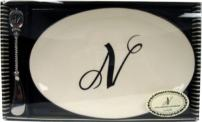 Initially Home by Mud Pie, White Ceramic 9-Inch by 6-Inch Oval Cheese Tray and Cast Metal Spreader with Monogram Initial N