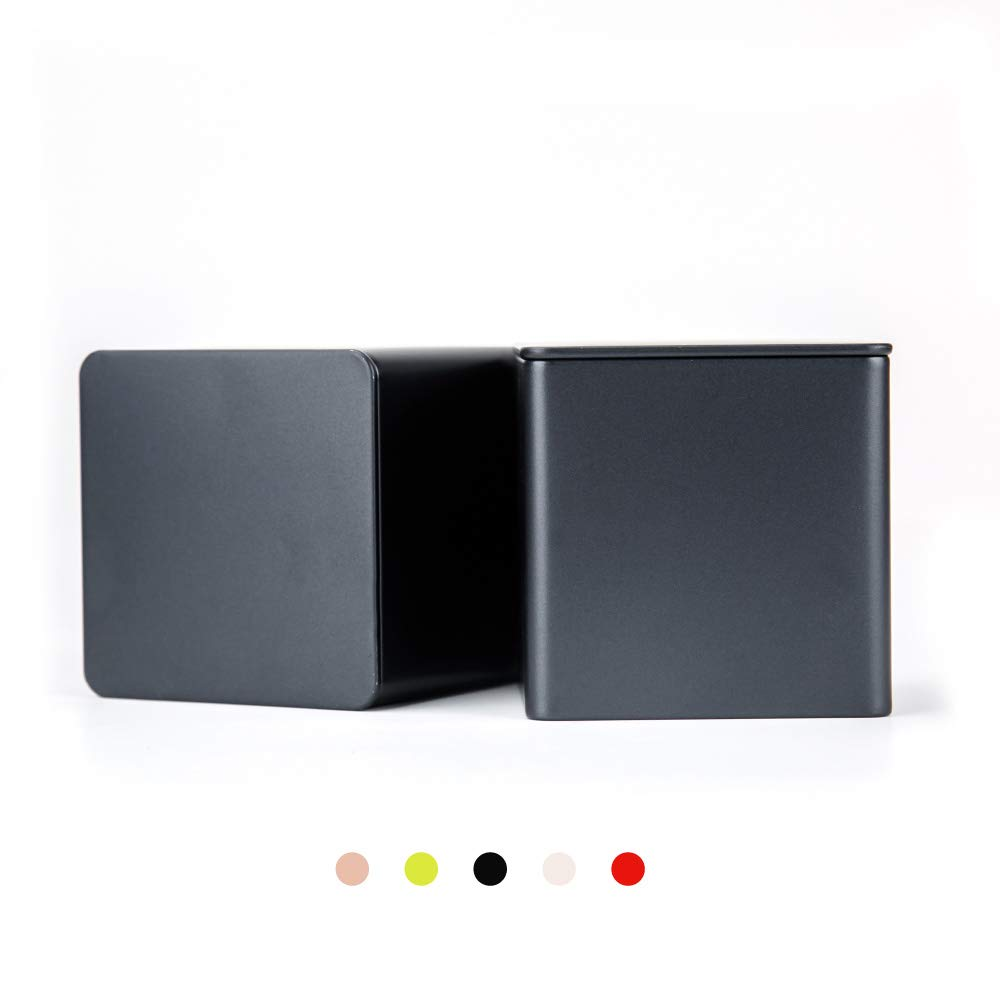Tianhui Colorful Square Tin Can Empty Cube Steel Box Storage Container for Treats, Gifts, Favors, Loose Tea, Coffee and Crafts, Mini Portable Small Storage Kit (Black, 2-Small)