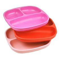 Re-Play Made in USA 3pk Divided Plates with Deep Sides for Easy Baby, Toddler, Child Feeding - Bright Pink, Red & Light Pink (Valentine)