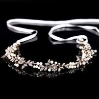 FaFaVila Wedding Silver Vines Handmade Bridal Headband Hair Accessories for Bride and Bridesmaid, with Crystal Beads, Rhinestones, Ivory Beads (03)