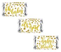 60 Gold Oh Baby Girl Baby Shower Miniatures Candy Bar Wrapper, Its a Girl Baby Shower Miniatures Candy Bar Stickers, White and Gold
